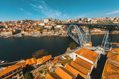 Dom Luis I bridge, Douro river and Ribeira, Porto Stock Images