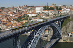 Dom Luis I Bridge with metro, Porto, Portugal Stock Image