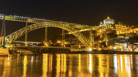 Dom Luis I Bridge at night time in Old Porto. Royalty Free Stock Image