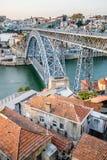 Dom Luis I Bridge over the river Douro in Porto, Portugal. Stock Images