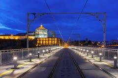 Dom Luis I bridge in Porto at night, Portugal. Stock Photography