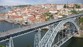 Dom Luis I bridge in Porto, Portugal stock video footage