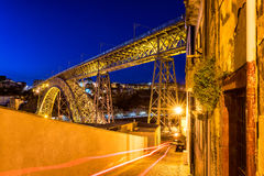 Dom Luis I Bridge in Porto Portugal at night Royalty Free Stock Photography