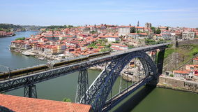 Dom Luis I bridge in Porto in Portugal in a summer day stock video footage