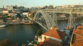 Dom Luis I Bridge at Ribeira in Porto, Douro river and Old Town. Portugal stock video footage