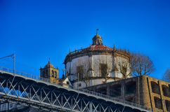 The Dom Luis I Bridge and the Serra do Pilar Monastery on the Vila Nova de Gaia side, Portugal Royalty Free Stock Photography