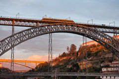 Dom Luis I Bridge at Sunset in Porto and Gaia Royalty Free Stock Photography