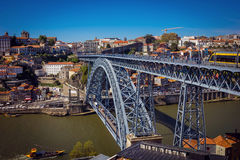 Dom Luis I Bridge and view of Porto old town Royalty Free Stock Photo