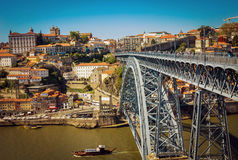Dom Luis I Bridge and view of Porto old town Royalty Free Stock Image