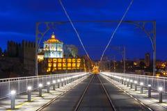 Dom Luis I brug in Porto bij nacht, Portugal Royalty-vrije Stock Foto