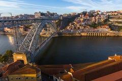 Dom Luis I iron bridge over Douro river at Porto Stock Images
