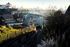 Dom Luis I iron bridge over Douro river at Porto Stock Photo