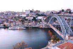 Dom Luis most i Douro rzeka, Portugalia Zdjęcia Stock