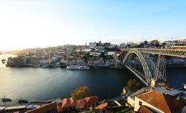 Dom Luis most i Douro rzeka, Portugalia Obraz Stock
