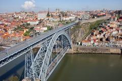 Dom Luis Przerzucam most Nad Douro rzeką w Starym mieście Porto Obrazy Royalty Free