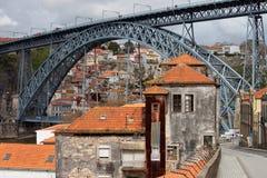 Dom Luis Przerzucam most w Starym mieście Porto Zdjęcia Stock