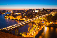 Dom Luiz bridge Porto at dusk Royalty Free Stock Images