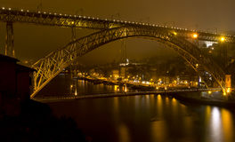 Dom Luiz bridge in Porto Portugal at dusk. Royalty Free Stock Photography