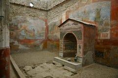 Dom mała fontanna Pompeii, Włochy Obraz Royalty Free