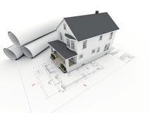 Dom na architektonicznym rysunku z staczać się stronami ilustracja wektor