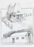 Dom na wsi i stajnia royalty ilustracja