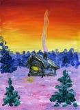 Dom na wsi pośród zima krajobrazu lasu obraz olejny krajobrazowa rzeka ilustracja wektor