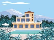 Dom na wsi w górach ilustracja wektor