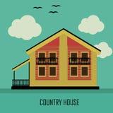 Dom Na Wsi w retro kolorach na zielonym tle Obraz Royalty Free