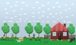 Dom na wsi, zasadza warzywa pojęcia wektorową ilustrację w mieszkanie stylu Fotografia Stock