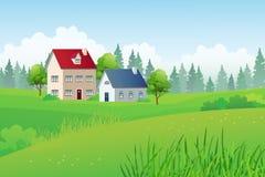 Dom Na Wsi na Zielonym wzgórzu z Sosnowym Lasowym tłem Fotografia Stock