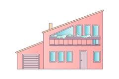 Dom Płaskiego projekta architektury Wektorowa Abstrakcjonistyczna ilustracja royalty ilustracja