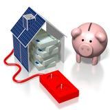 Dom, panelu słonecznego pojęcie Obraz Royalty Free