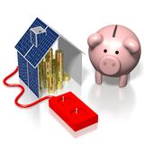 Dom, panelu słonecznego pojęcie Zdjęcie Stock