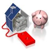 Dom, panelu słonecznego pojęcie Zdjęcia Stock