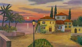 Dom przy jeziorem z czarnym lampionem w przedpolu royalty ilustracja
