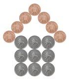 Dom robić od Brytyjskich monet Obrazy Royalty Free