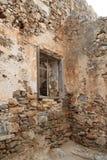 Dom ruiny, Spinalonga trędowatego koloni forteca, Elounda, Crete zdjęcie stock