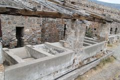 Dom ruiny, Spinalonga trędowatego koloni forteca, Elounda, Crete obrazy royalty free