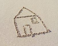 Dom, rysuje w piasku Zdjęcie Stock