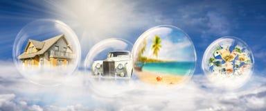 Dom, samochód, podróż i pieniądze, obraz stock