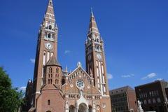 Dom Square och för helig Treenighet kolonn Szeged - Ungern Royaltyfria Foton
