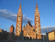 Dom Square and Votive Church 05, Szeged, Hungary stock image