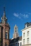 Dom Tower in de oude stad van Utrecht Royalty-vrije Stock Afbeelding