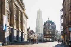 Dom Tower in het historische centrum van de stad van Utrecht Stock Afbeeldingen