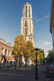 Dom Tower in the old town of Utrecht. Royalty Free Stock Photography