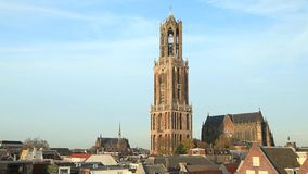 Dom Tower of St Martin's Cathedral in Utrecht. Netherlands stock video