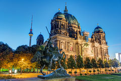 The Dom and the TV Tower in Berlin. At night Stock Images