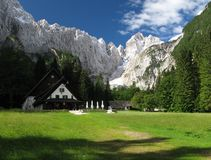 Dom v Tamarju mountain hut in Julian Alps. This mountain hut is in Tamar valley below summit of Jalovec in Triglav national park in Slovenia Royalty Free Stock Photos