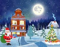 Dom w śnieżnym boże narodzenie krajobrazie przy nocą Obraz Royalty Free