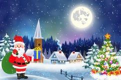 Dom w śnieżnym boże narodzenie krajobrazie przy nocą Zdjęcie Royalty Free